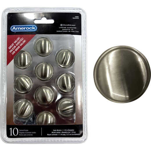 Amerock Everyday Heritage Satin Nickel 1-1/4 In. Cabinet Knob, (10-Pack)