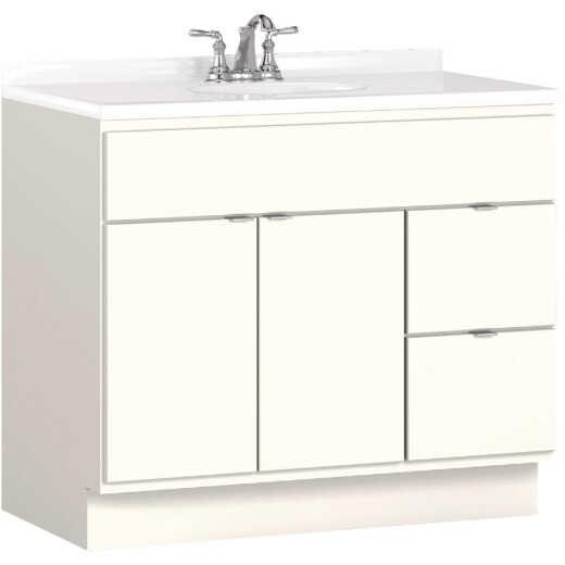 Bertch Riverside 36 In. W x 34-1/2 In. H x 21 In. D White Vanity Base, 2 Door/2 Drawer