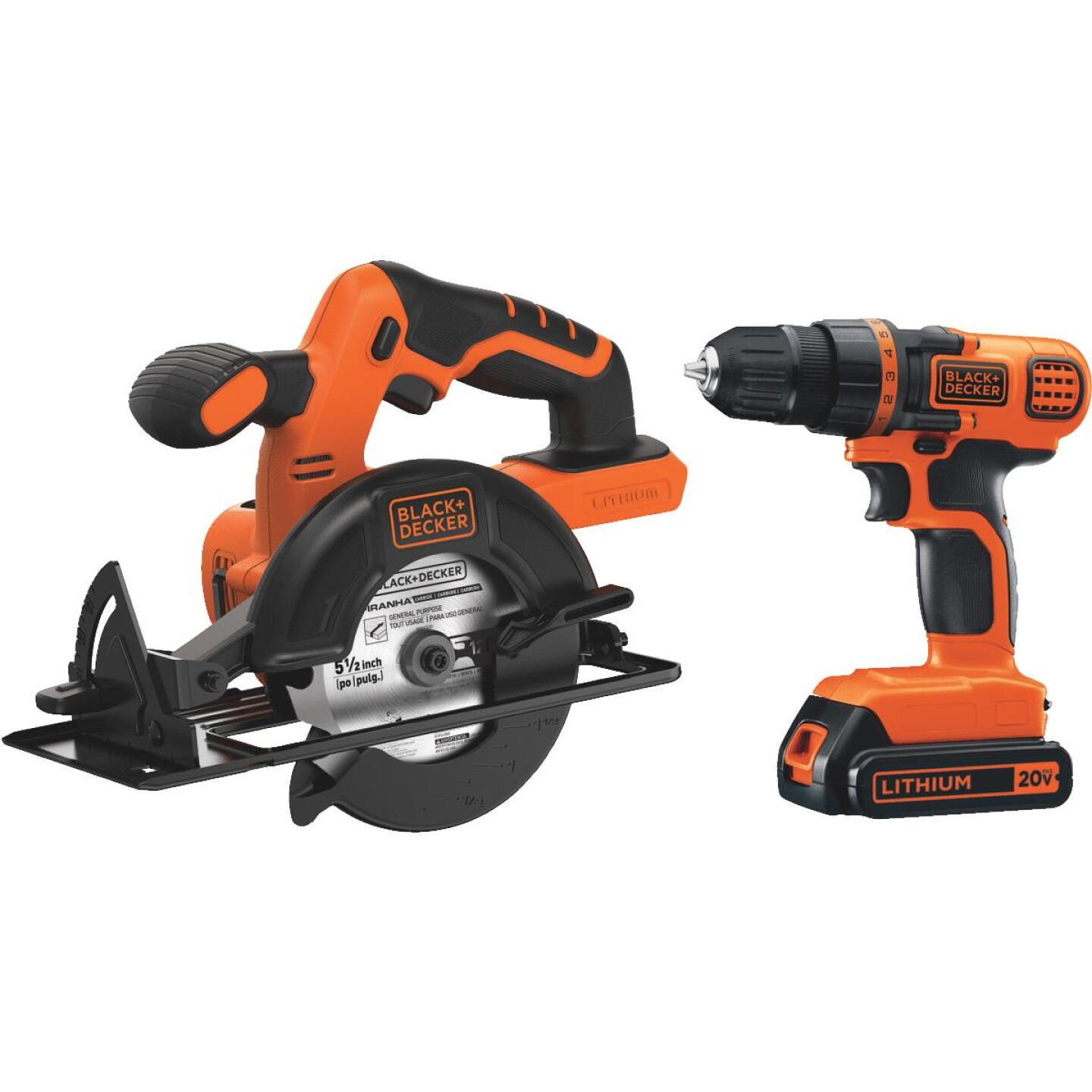 Black & Decker 2-Tool 20V MAX Lithium-Ion Circular Saw & Drill/Driver Cordless Tool Combo Kit Image 1