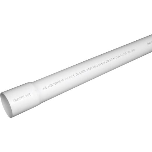 Charlotte Pipe 1-1/2 In. x 20 Ft. PVC Cold Water Pressure Pipe SDR 26, Belled End