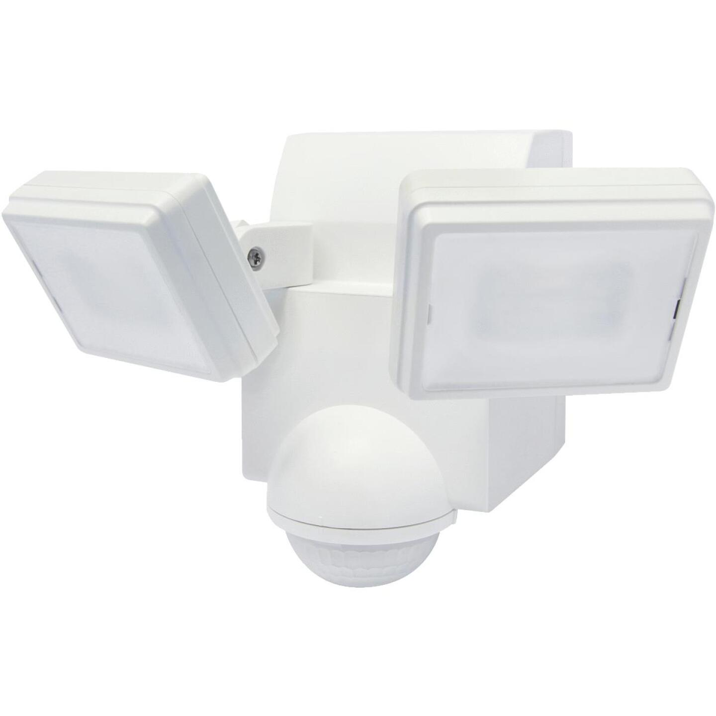 IQ America White 700 Lm. LED Battery Operated 2-Head Security Light Fixture Image 1