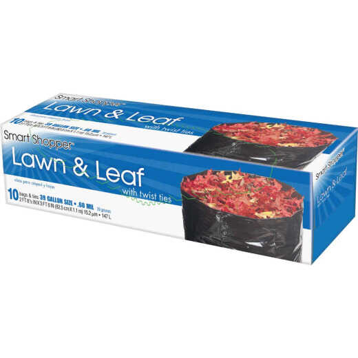 Smart Shopper 39 Gal. Black Lawn & Leaf Bag (10-Count)