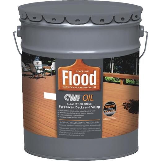 Flood CWF Alkyd/Oil Base Natural Wood Finish, Natural, 5 Gal.