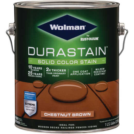 Wolman DuraStain One Coat Solid Color Exterior Stain, Chestnut Brown 1 Gal.